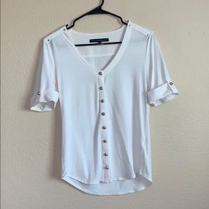 WHBM White Casual Button Up Tee